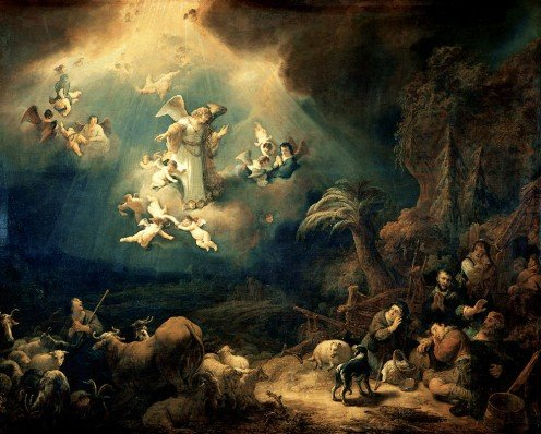 """Angels Announcing the Birth of Christ to the Shepherds"" - by Govert Teunisz Flinck (1639)"