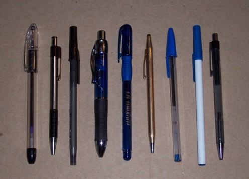 A variety of ballpoint pens