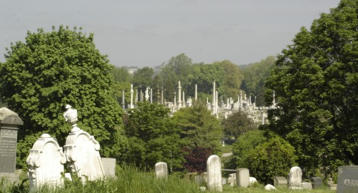 You can see Laurel Hill Cemetery in the background of this photo of Mount Vernon Cemetery.  Laurel Hill is a thriving example of a restored Victorian garden cemetery.  Mount Vernon, with equal enthusiasm and dedication, could also shine again.
