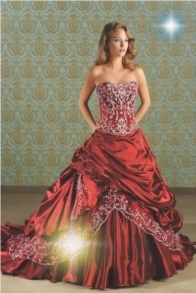 Strapless Red Embroidery Pleated Bride Wedding Dress Ebay