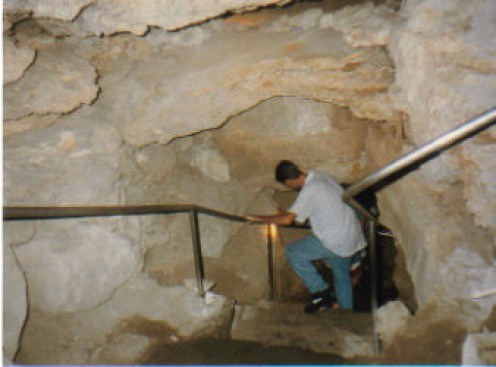 Hand rails in Wonder Cave in Texas. You wouldn't find that in an undeveloped cave.