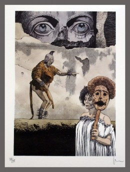 Lithograph by Milo Manara based on the film, Fellini's Satyricon, itself loosely based on Petronius's satire of Rome during the reign of Nero