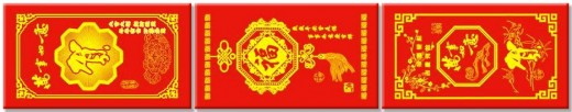 Traditional red Hongbao envelopes, in which gifts of money is given to the young by the elders