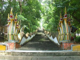 Staircase leading to Doi Wao Temple in Mae Sai, Thailand.