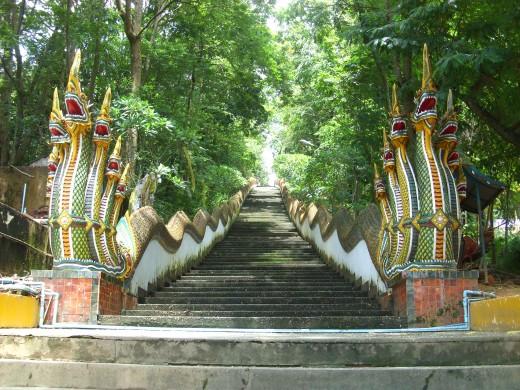 Staircase leading to Doi Wao Temple in Mae Sai, Thailand.