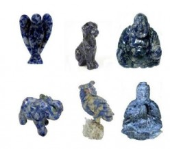 Sodalite Carvings : Angel, Dog, Laughing Buddha, elephant, Owl and Praying Kwan