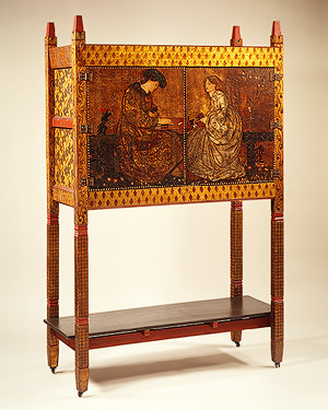 Pine cabinet produced by Morris, Marshall, Faulkner, &Co. Designed by Philip Webb and painted by Edmund Burne-Jones, 1861
