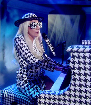 Lady GaGa in head to toe houndstooth