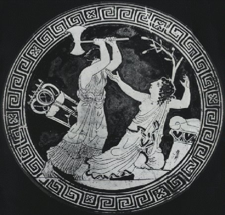 Clytemnestra killing the unfortunate prophetess, Cassandra