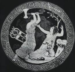 Clytemnestra killing the unfortunate prophetess, Cassandra