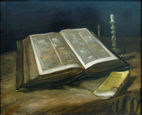 A still life painting of The Bible by Vincent Van Gogh