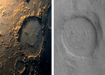 Smiley face craters on Mars