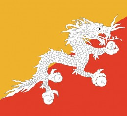 The flag is a diagonal division with orange over dark red, and a white dragon in the center.