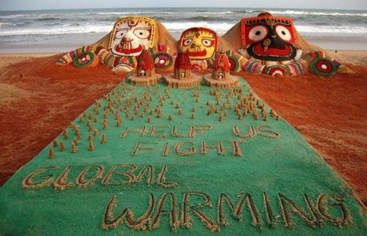 Sand art of Lord Jagannath, Balabhadra, and Subhadra for reducing global warming.