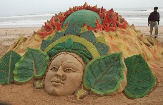 Goddess Durga and at the top showing a burning earth. Advocating to use greener methods to fight global warming.