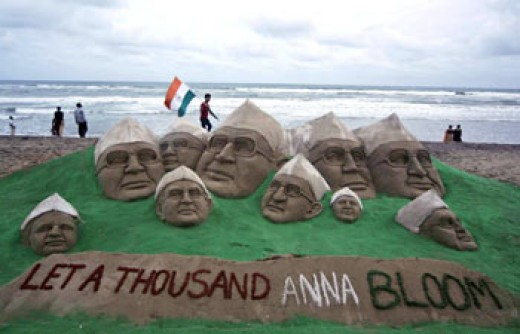 In support of Anna Hazare urging people to support the anti-corruption bill.