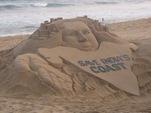 A sand Sculpture in support of NDTV's campaign to save India's coast against pollution.