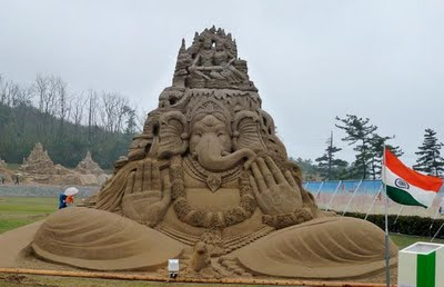 Lord Ganesha statue in the Japan Sand Art Festival.