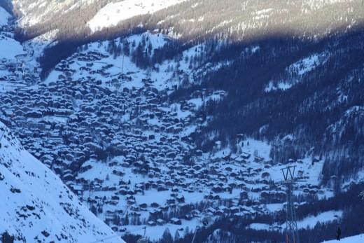Going down to Riffelberg Gondola Station viewing Zermatt, Switzerland