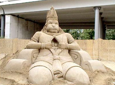 Lord Hanuman's signature position in an exhibition in Orissa