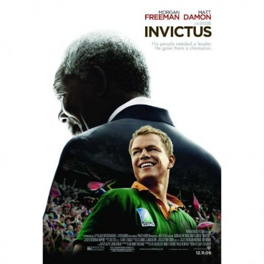 Morgan Freeman and Matt Damon star in the movie Invictus.This movie takes its title from the poem Invictus-see poster below.