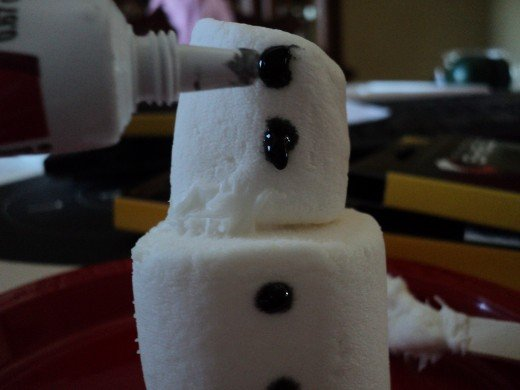Make two coal buttons on the side of the regular sized marshmallow with black gel frosting.