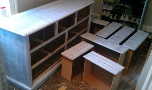 Dresser and drawers primed