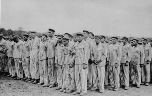 Roll call at the Buchenwald concentration camp.