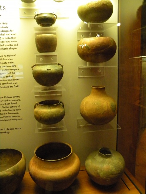 Several different types of pottery and ceramics are on display at the museum.