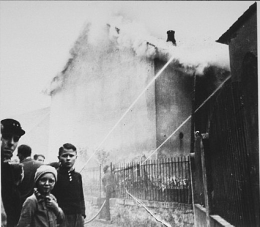 A burning synagogue during the Kristallnacht pogrom.