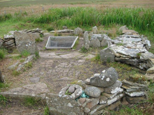 Ruins of neolithic house near the Tomb of the Eagles