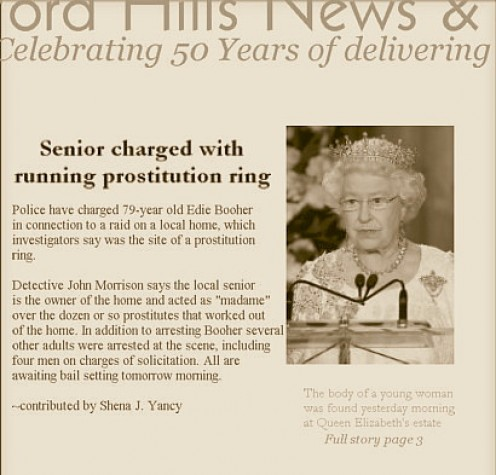 Headline with photo of Queen Elizabeth II