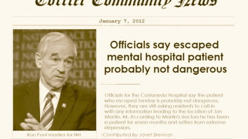 Headline with photo of Congressman Ron Paul