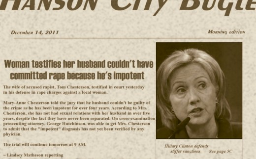 Headline with photo of Hillary Clinton