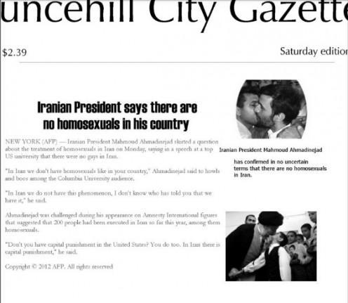 Headline about Iranian president