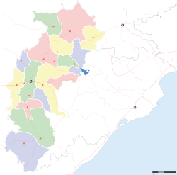Map of Chattisgarh showing Bhilai and other important places