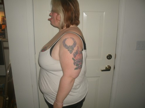 Me, 6 a.m., April 29, 2010.  15 days post Realize Band surgery.  Down one entire pant size. (size 22/24, comfortable fit)