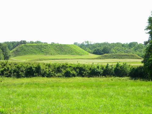 A view of the great temple mound  as seen approx. one half mile away from the earthen council lodge.
