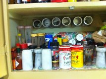 Spice cupboard is a little disorganized at the moment.