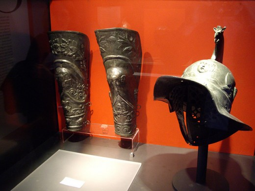 Real gladiator helmet and greaves