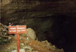 Sign at Cottonwood Cave, Lincoln National Forest, NM.