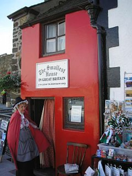 Situated in Conwy, North Wales, the house is only 10 feet by 6 feet. In 1900 the owner was 6foot 3inches tall and couldn't stand upright anywhere.