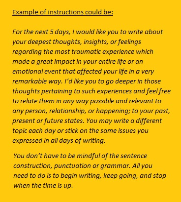 An example of instruction for expressive writing for patients with various medical problems. Click on the photo to read.