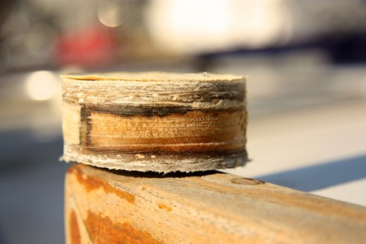 "Here a core cutout of a typical sailboat deck.  Notice the plywood sandwiched between the fiberglass.  If water gets in there, it softens the wood and create deck rot.  This will make the deck feel ""spongy""."