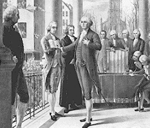 First president Washing taking oath
