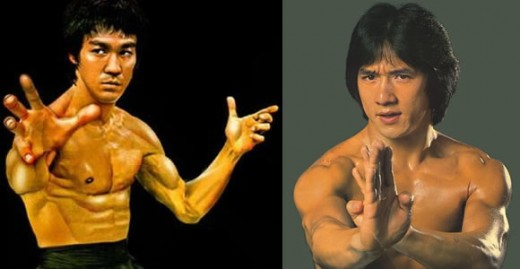 Martial Arts icons: Bruce Lee (left) and Jackie Chan (right)