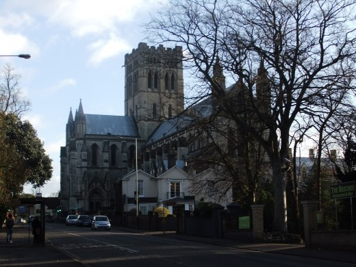 The Roman Catholic Cathedral on Earlham Road in Norwich's Golden Triangle. In the forefront is part of the Beeches Hotel