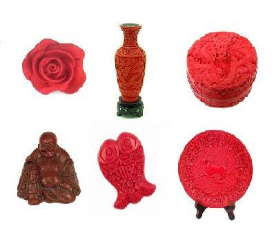 Cinnabar carvings : Rose, Vase, Box, Happy Buddha, fish...