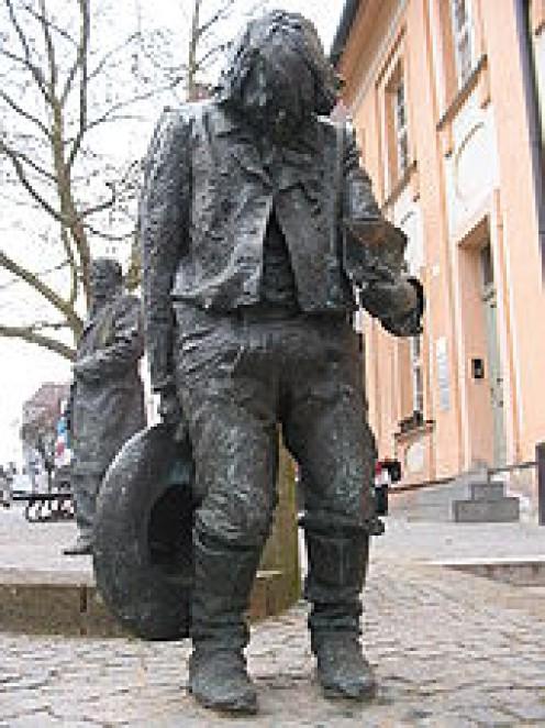 Statue of Kaspar, old city centre, Ansbach, Germany