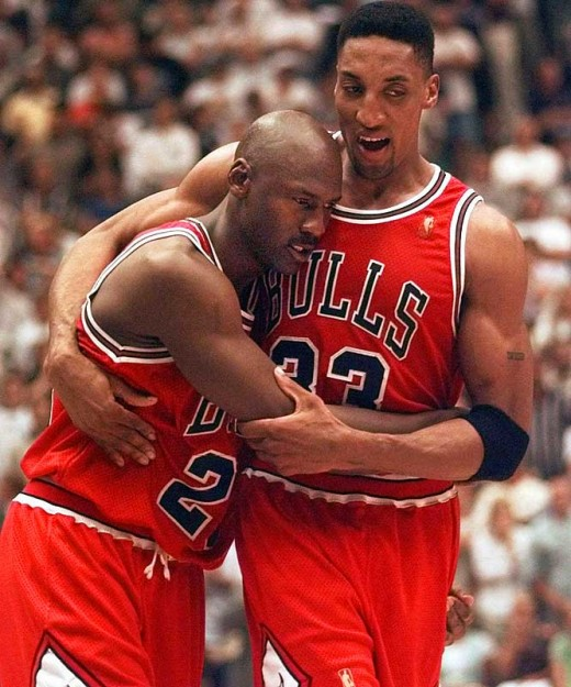 Jordan collaspes into Scottie's arm after a mammoth effort against the Jazz.